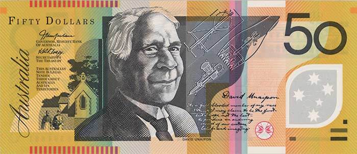 The front of the $50 banknote featuring David Unaipon.