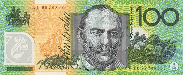 The back of the $100 banknote featuring Sir John Monash.