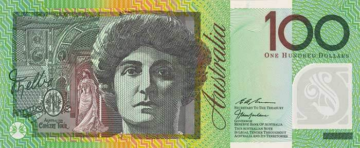 The front of the $100 banknote featuring Dame Nellie Melba.