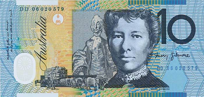 The back of the $10 banknote featuring Mary Gilmore.