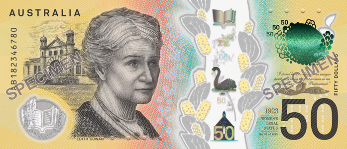 The Back Of New 50 Banknote Featuring Edith Cowan