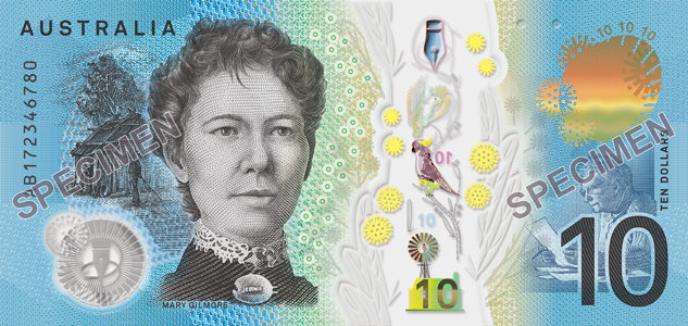 The serial number side of the new $10 banknote featuring a portrait of Dame Mary Gilmore.
